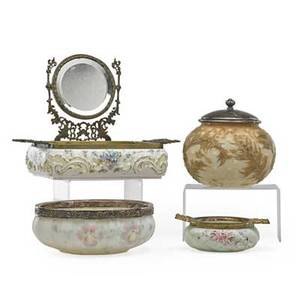 American victorian glass four items 19th c two wavecrest dresser boxes mt washington attr bowl bowl with plated rim and leafdecorated covered box largest 9 34 x 12 x 7 34