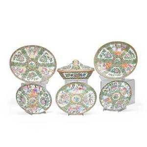 Chinese rose medallion porcelain seventeen items 19th20th c two oval serving plates four dinner plates and ten additional dishes largest 5 x 9 12 x 8 12
