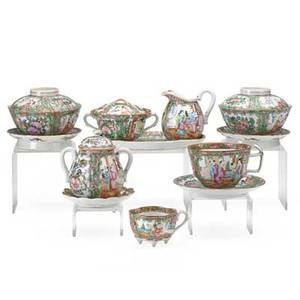 Chinese rose medallion porcelain twentysix items 19th20th c sugar creamer and tray six covered boullions and seven assorted cups and saucers largest 3 34 x 4 34