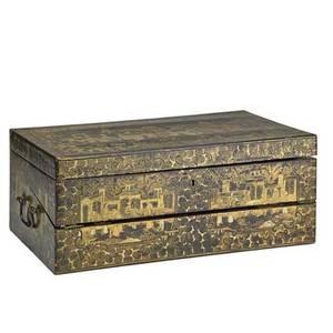 Chinese lacquer writing box ebonized finish with gilded decoration 19th c 6 34 x 17 x 10 14