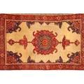 Oriental area rug geometric design with central medallion on beige ground early 20th c 74 x 50 12