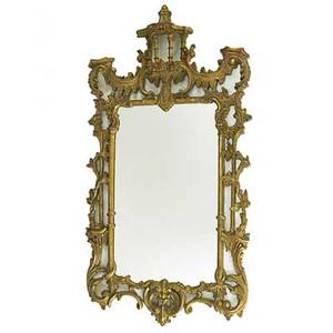 Georgian style gilt frame mirror elaborately carved frame with pagoda finial 20th c 57 x 30