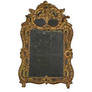 Florentine mirror heavily carved and painted wood 19th20th c 33 x 20