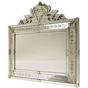 Venetian style mirror etched foliate decoration early 20th c 50 x 48