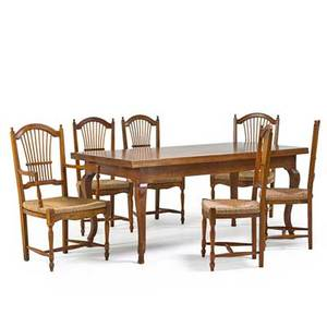 Refectory dining table and chairs all in fruitwood with four side chairs and two arm 20th c table 31 x 72 x 36