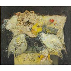 Joan miquel roca fuster spanish b 1942 oil on canvas abstract of figures and doves kulicke frame signed 20 78 x 25 18