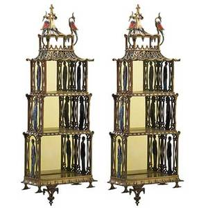 Pair of chinese chippendale style shelves brass with enameled bird and figural decoration mid 20th c 32 x 12 12 x 6