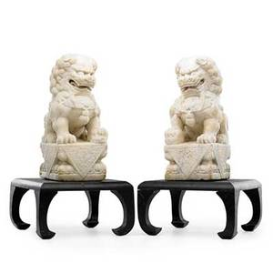 Pair of asian marble foo dogs mounted on hardwood plinths 19th c 14 12 x 8 x 5 12 figures