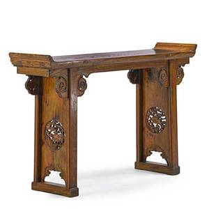 Chinese altar table hard wood with carved decoration 20th c 35 x 59 x 14 12