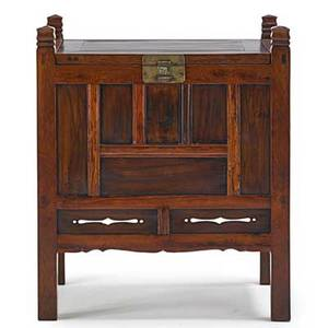 Chinese lift top commode mixed woods with paneled sides 20th c 34 x 29 x 21 12