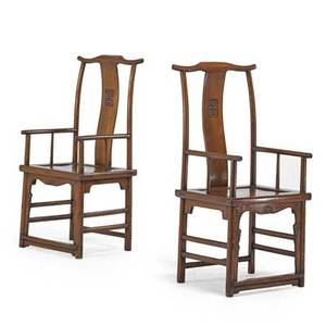 Pair of chinese chairs hardwood frames with yoke back 19th c 43 x 21 x 17 12