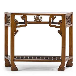 Chinese console table mixed woods with carved decoration 20th c 32 x 40 x 16 12