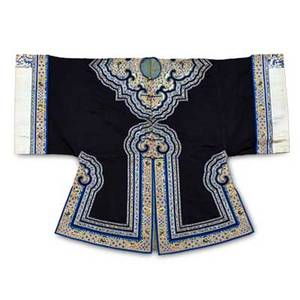 Chinese robes two in silk with figural and animal design early 20th c larger 38 x 50