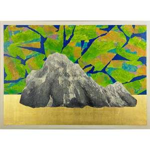 Liao shiouping taiwanese b 1936 oil and gold leaf on canvas garden 9025 1990 framed signed titled and dated on verso 36 x 50 sold with accompanying garden series catalogue sigma