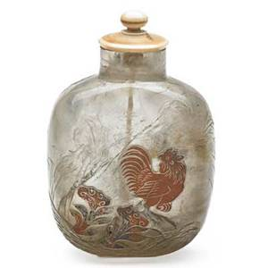 Chinese rock crystal snuff bottle rooster and floral displays in relief with spoon 19th20th c 3 34
