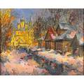 Victor gorunov russian b 1945 oil on canvas of a snowy russian village framed signed chapman gallery doylestown label to verso 15 34 x 19 34