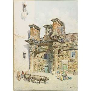 Mariano de franceschi italian 18491896 watercolor on paper of roma landscape with figure framed signed 26 x 18 12 sheet