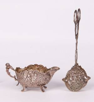 19th C Continental Silver Sauce Boat  Pastry Tongs