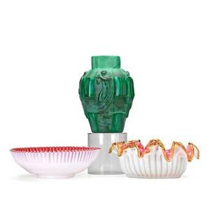 19th20th c art glass three items art deco malachite vase and two victorian cranberry over white bowls larger 7 12 x 6