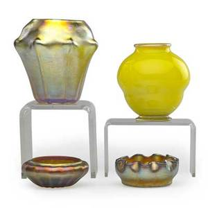 Tiffany  quezal four items early 20th c favrile ruffled edge salt quezal salt and two tiffany vases all marked tallest 4