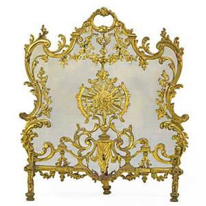 Louis xv style fire screen brass with wire mesh insert 20th c 30 x 27