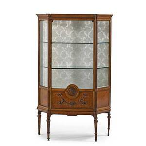 Louis xvi style curio cabinet mixed woods with beveled glass door and sides two glass shelves early 20th c 54 12 x 34 x 15