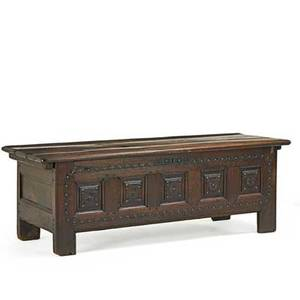 Italian cassone oak with carved front panel 18th c 24 12 x 72 x 24