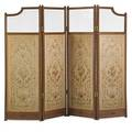Continental dressing screen four needlepoint panels with beveled glass tops 19th c 64 x 82