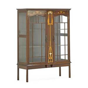 Art nouveau curio cabinet mahogany with mother of pearl inlay mullioned glass doors two shelves ca 1900 51 12 x 40 x 15 14