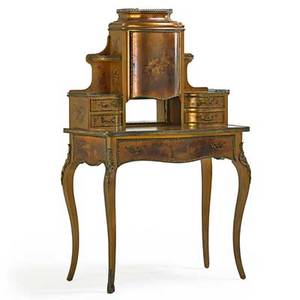 Vernis martin ladys desk central door with serpentine front bronze mounts and mirrored back 20th c 54 x 34 x 18