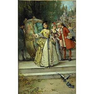 Edward percy moran american 18621935 oil on canvas of an outdoor scene with figures in aristocratic dress framed 20 x 12