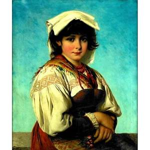 Josef buche austrian 18481918 oil on canvas of a young woman in peasant dress framed signed 27 x 21 34