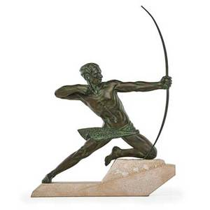 Max le verrier french 18911973 bronze sculpture archer on marble base impressed signature 30 x 23