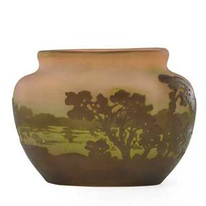 Galle cameo glass vase with lakeside landscape on pink frosted ground early 20th c marked 5