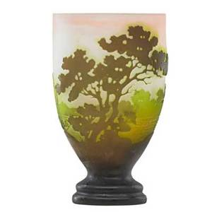 Galle cameo glass vase with pasture landscape on pink frosted ground early 20th c marked 6