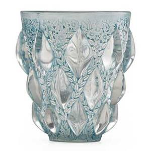 Lalique rampillons vase in clear and frosted glass with remnants of blue early 20th c engraved r lalique france 5