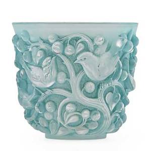 Lalique avallon vase in clear and frosted glass with remnants of blue early 20th c engraved r lalique france 5 34