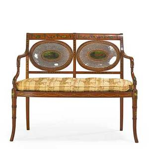 English regency settee walnut frame with caned seat and backs early 19th c 34 x 40 x 23