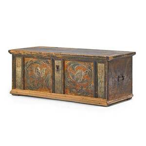 European paint decorated blanket chest wrought iron handles 19th c 21 x 52 x 25