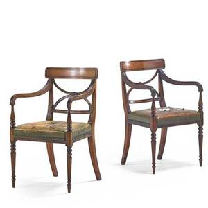 Pair of sheraton armchairs mahogany frames leather seats early 19th c 35 x 22 x 21