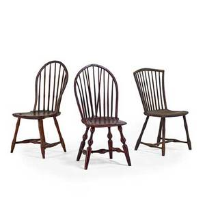 American windsor chairs three in mixed woods 19th c one chair stamped moon largest 38 x 17 x 19