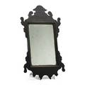 American miniature chippendale courting mirror mahogany frame original finish 18th c inscription to back 15 x 8 12