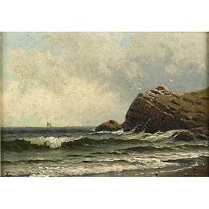 Alfred thompson bricher american 18371908 oil on canvas of a rocky shoreline with distant sailboats framed signed 7 x 10