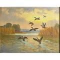 Arthur h hider canadian 18701952 oil on canvas of ducks in flight framed signed 25 14 x 32 34