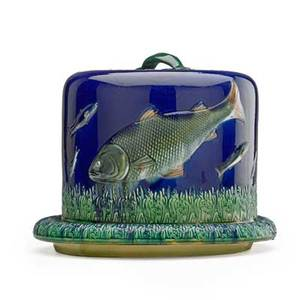English majolica cheese dome attr to joseph holdcroft with swimming fish on a blue ground 19th c 9 x 11