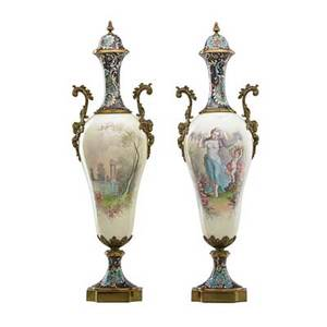 Pair of french porcelain lidded urns bronze mounted with handpainted classical scenes and enamel decoration 19th c artist signed e deniere 22