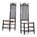 Pair of ebonized bannister back side chairs rush seats 18th c 49 x 19 x 14 12 provenance estate of george gallup princeton new jersey