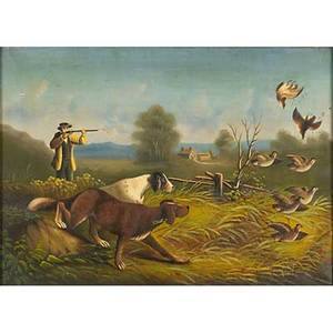 English hunting scene oil on canvas of a pheasant shoot with two dogs 19th c framed 14 x 20 provenance estate of george gallup princeton new jersey