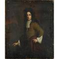 English portrait oil on canvas mounted on artist board of an aristocratic gentleman 17th c 22 12 x 19 58 provenance estate of george gallup princeton new jersey