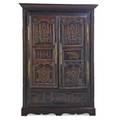 Elizabethan flat wall cupboard oak with decorative paneled doors 16th17th c 78 x 50 x 13 provenance estate of george gallup princeton new jersey